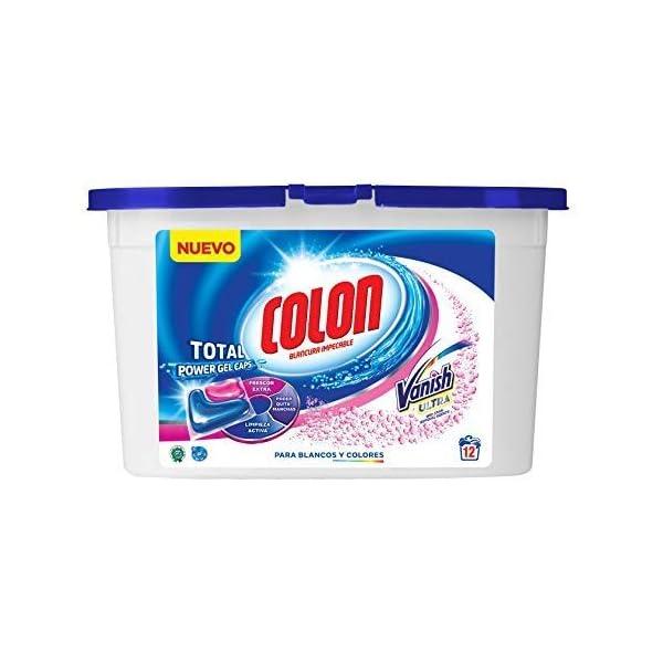 Colon Total Power Gel Caps Vanish – Detergente para Lavadora con agentes quitamanchas, Formato Cápsulas – 12 dosis
