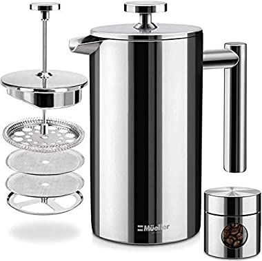 Mueller French Press Double Insulated 310 Stainless Steel Coffee Maker 4 Level Filtration System, No Coffee Grounds, Rust-Fre