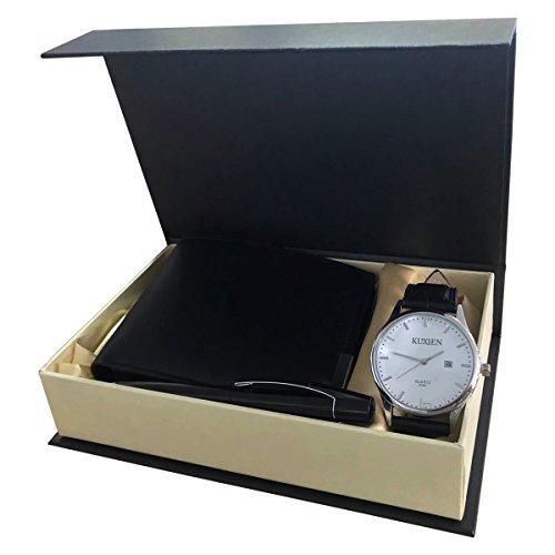 KUXIEN Herren Uhr Chronograph Quartz Leder Armband
