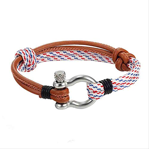 JYHW Endless August New Multilayer Navy Style Leather Braided Rope Stainless Steel Buckles Survival Bracelet for Men Women pulseras  Coffee White,Coffee White