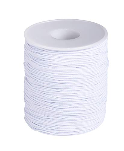 Elastic String Cord Spool for Crafting (600 ft, White)