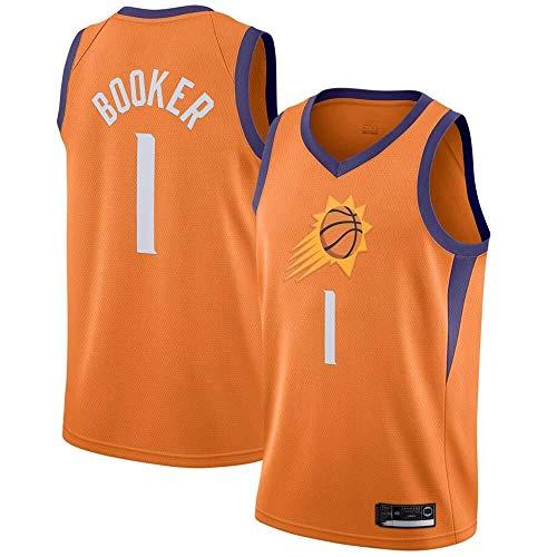 Shelfin - Camisetas para hombre y mujer Phoenix Suns No.1 Booker Jerseys transpirables bordadas de baloncesto Swingman (color: naranja 1, tamaño: L)
