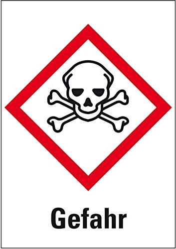 LEMAX® Gefahrensymbol Totenkopf m.gekr.Knochen GHS06, Gefahr, Folie, 105x148mm