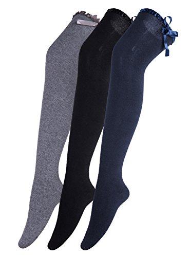 Urban GoCo Calcetines Hasta la Rodilla Algodón Medias Mujer Rayure Piernas Calientes-Conjunto de 3 pares (Bowknot B)