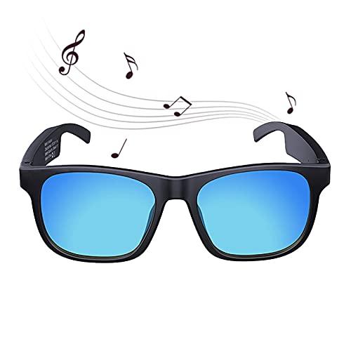 FRIBLSKEL Gafas Sol Bluetooth,Gafas Audio Inalámbricas,Lentes Polarizadas Batería Larga Duración 100H IPX4 A Prueba Agua Gafas Sol para Hombre Mujer Conducir Viajar Aire Libre,Azul