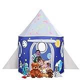 Toyssa Kinderzelt Spielzelt Rakete mit Leuchtende Sterne im Dunkeln, Pop Up Zelt Schloss Spielzelt...