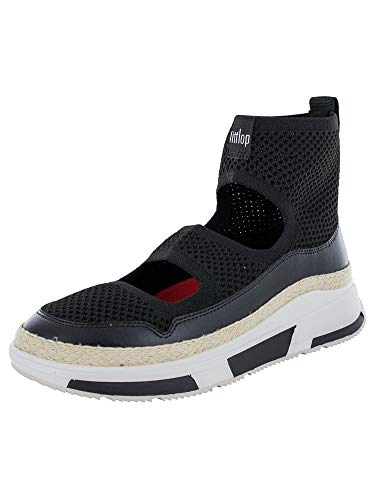 FitFlop Womens Blair Mesh High Top Sneaker Shoes, Black, US 8