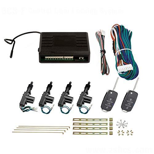 SLPRO Zentralverriegelung Komplett Set, 4-türig, incl. 2 Klappschlüssel mit Funk, 4 Stellmotoren