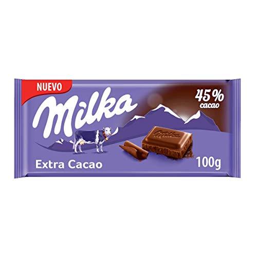 Milka Extra Cacao - Chocolate con un 45% más de Cacao y Chocolate con Leche de los Alpes - Tableta de 100 g