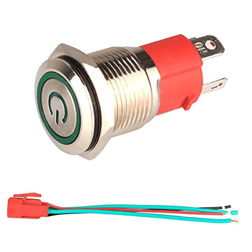 GUUZI 12V-24V / 15A Interruptor de Botón de Enclavamiento NO, Luz LED Verde Impermeable Botón de Encendido de Metal de 16 mm Iluminado con Cable de Enchufe