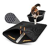 Tapis de litière pour chat avec revêtement en nid d'abeille pliable à double couche imperméable et imperméable à l'eau et à l'urine - Matériau EVA imperméable à l'eau et à l'eau - 40x50 cm/16X20inch