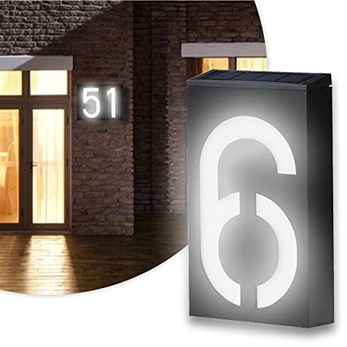 BLLJQ Número De Casa con Energía Solar con 6 Led, Interruptor Crepuscular, Ip65 Impermeable, para Casas, Jardín, Calle, Patio Y Hogar,0