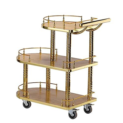 Carrito de bar Carrito de 3 niveles con ruedas de diseño moderno Carrito para bebidas Carrito de bar para catering Almacenamiento  Tamaño: 82,5 X 77 X 40 cm Dorado