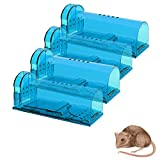 Wanqueen 4 Pack Mouse Traps of No See Kill, Reusable Mice Trap & Rat Catcher for House and Outdoor