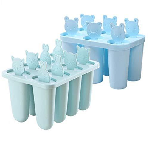 YOUZHI Molde para Helados,DIY Moldes de Polos, Reutilizable Moldes Silicona, moldes para paletas de Hielo Ideales para la dentición,(Combinación 8 + 6),Azul