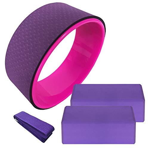 WEARRR 4 stücke Yoga Ausrüstung Set Yoga Rad Baumwolle Dehnungsband Stabilität Eva Yoga Blocks Pilates Meditation Home Gym Übung Set (Color : Purple)