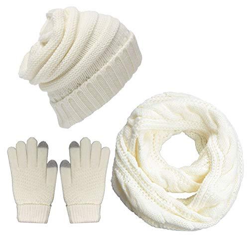 LYworld Femme Hiver Tricotés Bonnet Écharpe et Gants Ensemble Chauffant Bonnet Tricot Écharpe avec Gants d'écran tactile,3 Pièces, Blanc, Taille unique