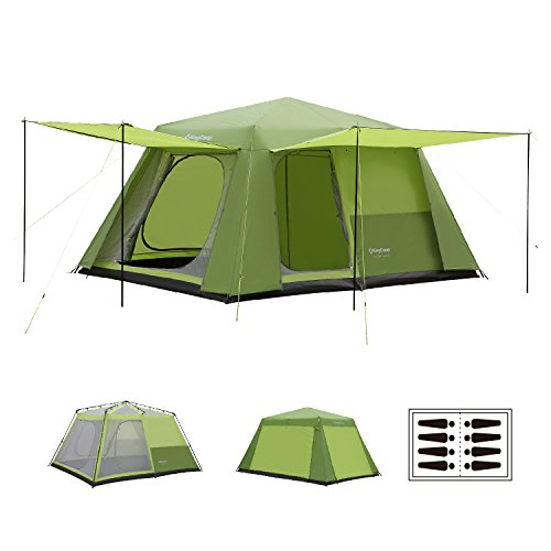 KingCamp Camp King 8-Person 2-Room Instant Camp Cabin Tent, 13' × 9', with Full Cover Rain Fly
