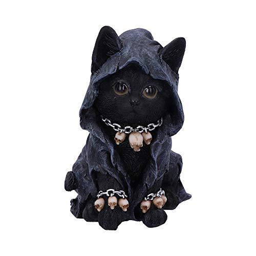 Nemesis Now Feline Cloaked Grim Reaper - Figura de Gato (poliresina, 16 cm), Color Negro