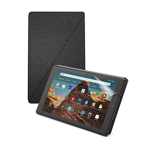 Fire 7 Essentials B&le mit Fire 7-Tablet (32 GB, Schwarz, ohne Werbung), Amazon-Hülle (Kohlenschwarz) & NuPro-Bildschirmschutzfolie (2er-Pack)