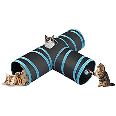CO-Z Collapsible Cat Tunnel Tube Kitty Tunnel Bored Cat Pet Toys Peek Hole Toy Ball Cat, Puppy, Kitty, Kitten, Rabbit (3-Way Black) by CO-Z