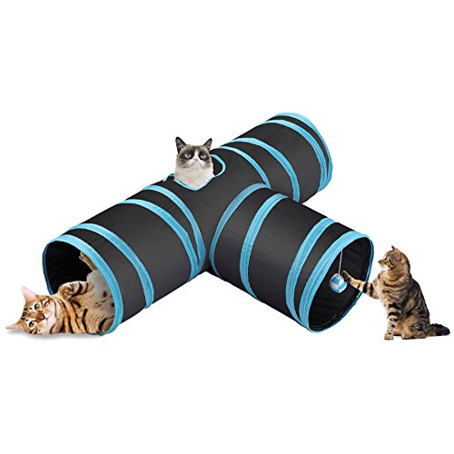 CO-Z Collapsible Cat Tunnel Tube Kitty Tunnel Bored Cat Pet Toys Peek Hole Toy Ball Cat, Puppy,...