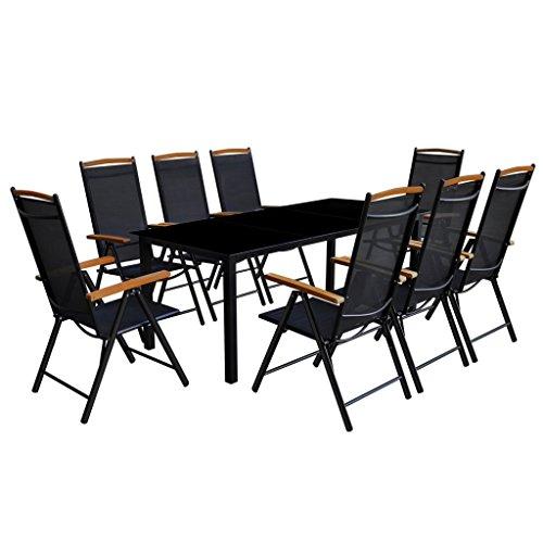 Festnight Salons de Jardin Table et Chaise Pliable pour Jardin 9 pcs Aluminium 1 Table et 8 chaises