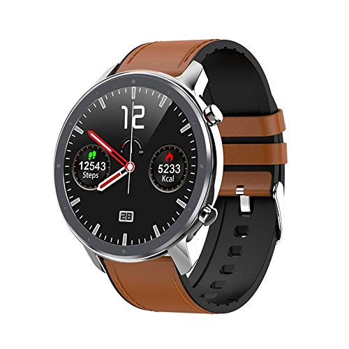 TYOP Smart Watch, Full-screen Touch Smart Wristband, Sports Step Counter IP68 Waterproof Bluetooth Bracelet, Male and Female Fitness Tracker (Color : Silver brown leather)