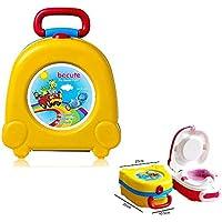 Orinal de viaje, portátil, asiento de inodoro de entrenamiento para bebé, asiento de inodoro plegable, inodoro de entrenamiento orinal (amarillo)