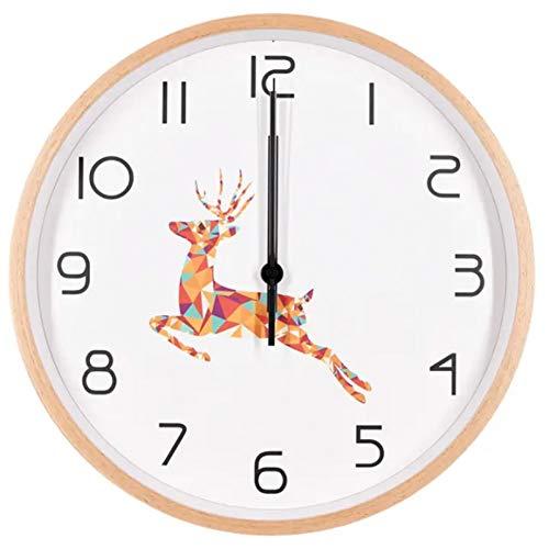 BLINGBZ wandklok, 30,5 cm (12 inch), groot uurwerk, stil, geen tikken, frame van hout, minimalistisch, decoratie thuis, 30 cm (12 inch), analoge klokken