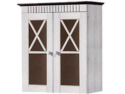 Loft24 Hängeschrank Badezimmer Küche Wandschrank weiß Kiefer Massivholz Oberschrank Badschrank Landhaus 2 Glastüren 60 x 30 x 66 cm