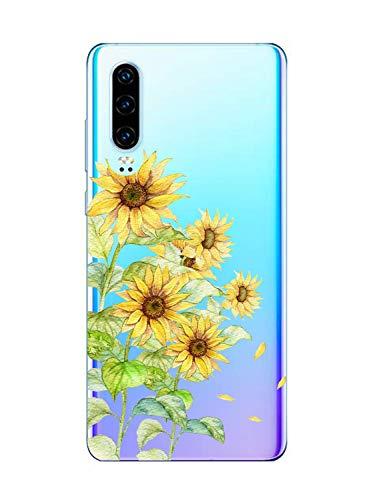 Suhctup Moda Coque Compatible pour Huawei P30 Pro,Transparent Silicone TPU Souple Étui avec [Motif Fleur] Crystal Ultra Fine Shock-Absorption Antichoc Protection Housse Cover Case(Fleur 10)