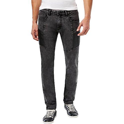 INC Mens Stockholm Denim Faux Leather Trim Skinny Jeans Black 33/32 …