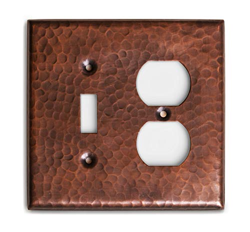 Monarch Abode 17017 Monarch Pure Copper Hammered Single Duplex Wall Switch Plate, Oil-Rubbed Bronze