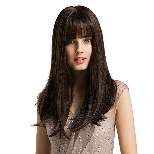 HAIRCUBE 20 Zoll Natur gerade tiefe braune Perücken für weiße Frauen weiches Haar synthetische Perücken mit stumpfen Knall