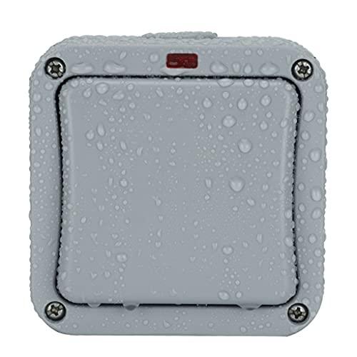 Interruptor de luz impermeable al aire libre caja de interruptor uno abierto dos interruptor de lluvia expuesto al aire libre caja de control gris con luz indicadora 10 A (color: gris, tamaño: 1)