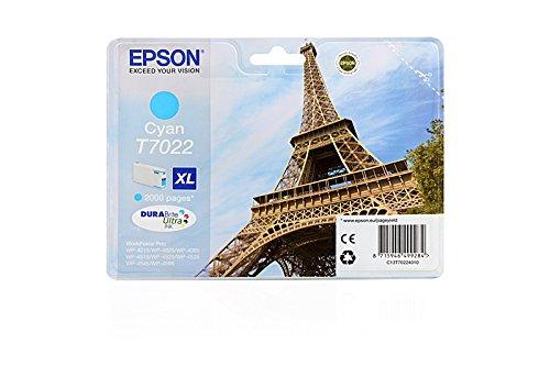 Originale Epson C13T70224010 / T7022 cartucce d'inchiostro (ciano, ca. 2.000 Pagine) per Workforce Pro WP-4015, WP-4025, WP-4095, WP-4515, WP-4520, WP-4525, WP-4535, WP-4545, WP-4590, WP-4595