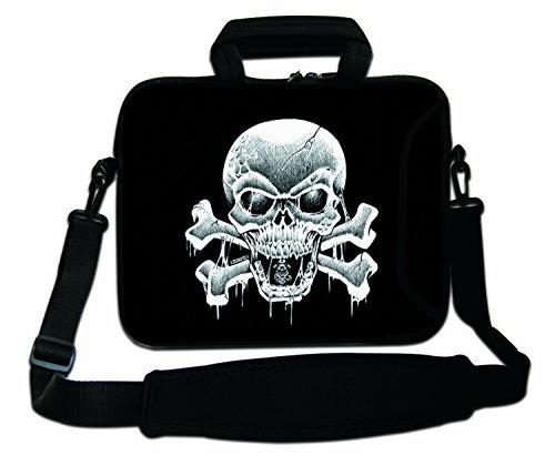Luxburg schoudertas, 10 inch, zacht, voor notebooks, met greep, design: piratenvlag