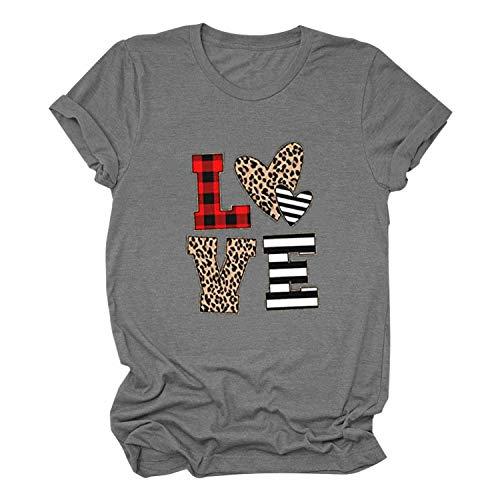 Janly Clearance Sale Camiseta de manga corta para mujer, informal, estampado de letras de amor, camiseta de manga corta, blusa de color liso, para Pascua, San Patricio Ofertas (gris-M)