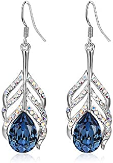 NEVI Crystals from Swarovski Krishna Peacock Feather Blue Crystal Earrings for Women and Girls (Blue)