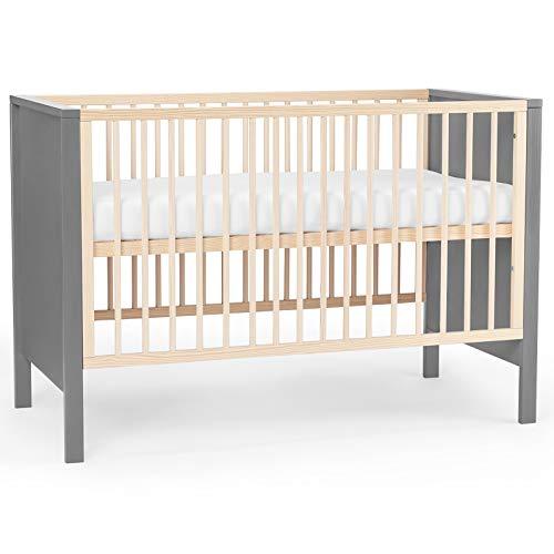 Kinderkraft Kinderbett MIA, Babybett aus Holz, Gitterbett, mit Matratze, Bettumrandung, 3 Stufen Höhenverstellbar, von Geburt bis zu Höhe 120 cm, Grau