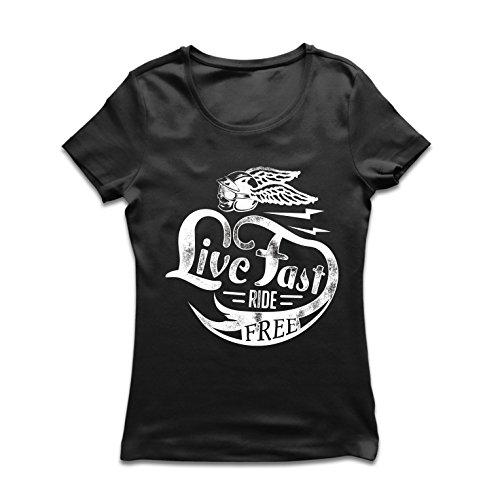 lepni.me dames t-shirt Live Fast De Free - klassieke bikerskleding, motoruitrusting, motorfiets spreuken