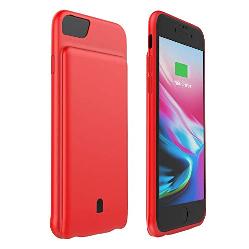 HiKiNS Cover Batteria per iPhone 7/8/6/6s, 5500 mAh Caricabatterie Ultra Sottile Power Case Ricaricabile Custodia Batteria Portatile Backup per iPhone 8/7/6s/6 - rosso