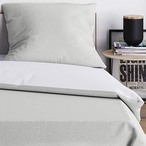 Wolkenfeld Bettwäsche 155x200 grau weiß - kuschelig weich, bügelfrei & atmungsaktiv - 2teilig - Bettbezug + Kissenbezug 80x80 für Sommer und Winter