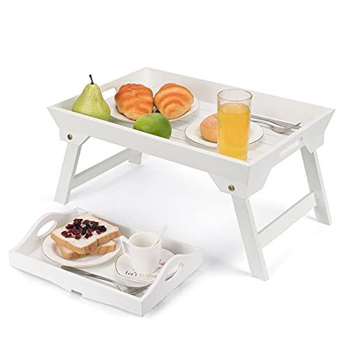 Frühstückstablett fürs Bett und Sofatablett Holz 2er Set, Betttablett klappbar Tischtablett 48 cm mit Couch Ablage 30 cm, Serviertablett Set Betttisch Tablett mit Füßen (Weiß)