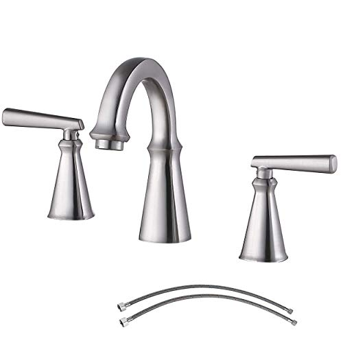 Ufaucet Antique 2 Handle Widespread Brushed Nickel Bathroom Faucet, Commercial Stainless Steel 3 Holes 8 Inch Bathroom Vanity Set Lavatory Faucets