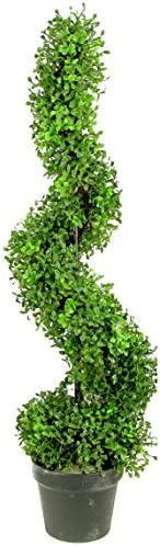Admired By Nature 3 Artificial Boxwood Leave Spiral Topiary Plant Tree in Plastic Pot Green product image