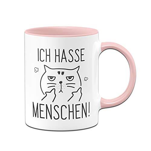 Tassenbrennerei Tasse Ich Hasse Menschen Tassen mit Spruch Katze lustig - Spülmaschienenfest (Rosa)