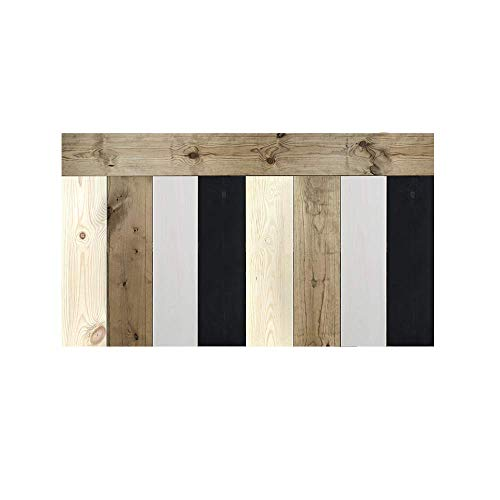 Decowood - Cabecero para Cama Dormitorio, Crooked Forest con Lamas Combinadas, Madera de Pino, Pizarra, Natural y Envejecido - 160 x 80 cm
