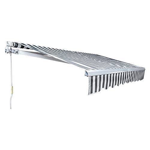 TolleTour Markise Alu-Markise Aluminium-Gelenkarmmarkise mit Kurbel, 3 x 2,5 m, Sonnenschutz Balkon, Anti-UV und wasserfest, Neigungswinkel bis 30 Grad, Weiß Grau